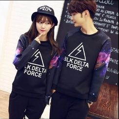 CASSY - Printed Couple Matching Pullover / Contrast-Stripe Pants
