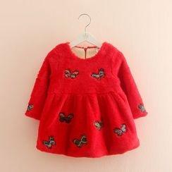 Seashells Kids - Kids Butterfly Embroidered Long Sleeve Furry Dress