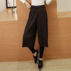 Glen Glam - 连饰褶宽腿裤内搭裤
