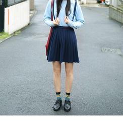 YARU - Pleated Suspender Mini Skirt