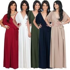 Hotprint - Wrap Front V-Neck Maxi Dress
