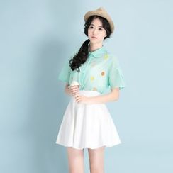 Garden Party - Short-Sleeve Embroidered Shirt