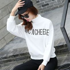 AiSun - Letter Mock-neck Sweatshirt