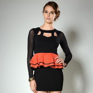 59 Seconds - Mesh Sleeve Cutout Neckline Peplum Dress