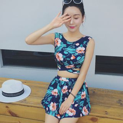 Morning Dew - Set: Floral Print Tankini + Swim Skirt