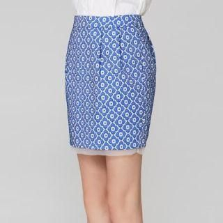 O.SA - Flower-Embroidered Pencil Skirt