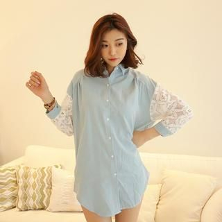 Envy Look - Lace Sleeve Denim Blouse