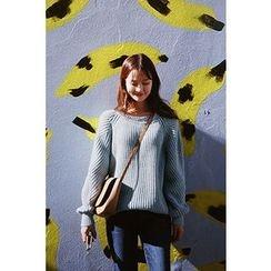 CHERRYKOKO - Round-Neck Raglan-Sleeve Sweater