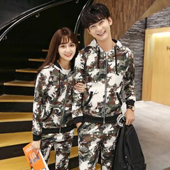 Evolu Fashion - Coupe Matching Set: Camouflage Hooded Jacket + Sweatpants