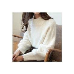 CHERRYKOKO - Mock-Neck Wool Blend Furry Sweater