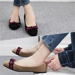 Reneve - Square-Toe Bow Faux-Suede Flats