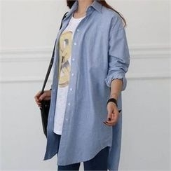 CHICFOX - Drop-Shoulder Long Shirt