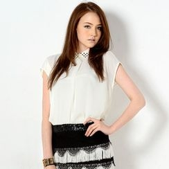 YesStyle Z - Studded Collar Short-Sleeved Top