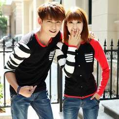 NoonSun - Couple Matching Printed Long Sleeve T-Shirt (Various Designs)