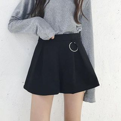 Moon City - Plain Faux Suede Skort