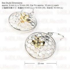 MBLife.com - 3-in-1 Set: Bee In Honeycomb 925 Silver Earrings