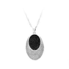 BELEC - 925 Sterling Silver Oval Pendant with White and Black Cubic Zircon and Necklace