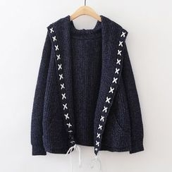 ninna nanna - Stitch Detailed Hooded Cardigan