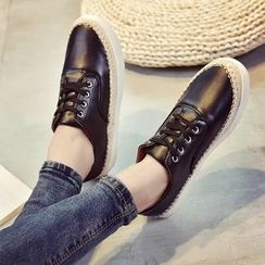 Charming Kicks - Faux Leather Lace Up Sneakers