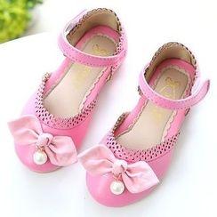 綠豆蛙童鞋 - 童裝蝴蝶結踝帶鞋