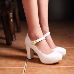 JY Shoes - Chunky Heel Mary Jane Pumps