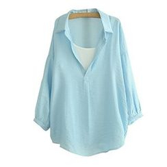 Angel Love - Set: Long-Sleeve V-Neck Blouse + Camisole