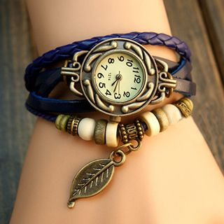 InShop Watches - Braided Genuine Leather Bracelet Watch