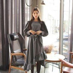 Cherryville - Puff-Sleeve Striped A-Line Dress