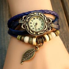 InShop Watches - Genuine-Leather Braided Strap Watch