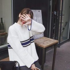 mimi&didi - Mock-Neck Contrast-Trim Sweater