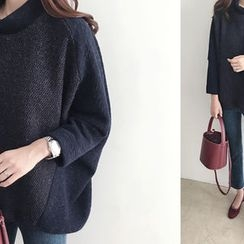 DAILY LOOK - Mock-Neck Mélange-Panel Knit Top
