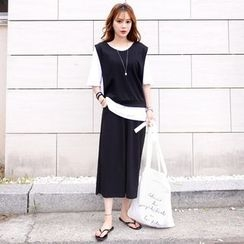 DEEPNY - Set: Round-Neck Vest + Short-Sleeve T-Shirt + Wide-Leg Pants