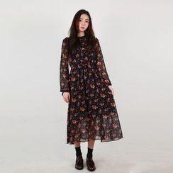 Vintage Vender - Floral A-Line Long Chiffon Dress