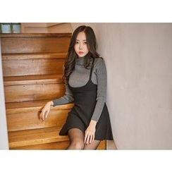UUZONE - Mock-Neck A-Line Dress