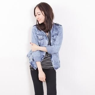 D.P-Shop - Acid-Washed Stand-Collar Denim Jacket