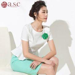 Aision - Set: Short-Sleeve Top + Slit-Front Pencil-Cut Skirt