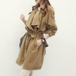 NANING9 - Wide-Lapel Trench Coat