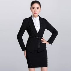 Eleganza - Set: Single Button Blazer + Pencil Skirt