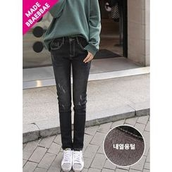 BBAEBBAE - Washed Fleece-Lined Skinny Pants