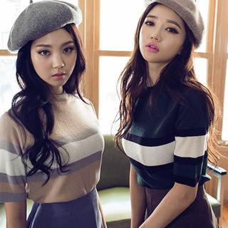 chuu - Striped Short-Sleeve Knit Top
