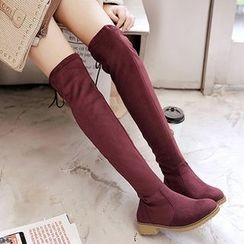 Gizmal Boots - Block Heel Over The Knee Boots