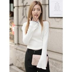 BBAEBBAE - Contrast-Trim Frilled Knit Top