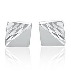 MaBelle - 14K/585 White Gold Square with Diamond Cut Earrings
