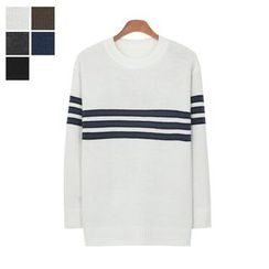 DANGOON - Crew-Neck Stripe Knit Top