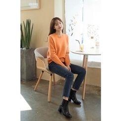CHERRYKOKO - Scallop-Edge Wool Blend Knit Top