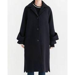 Someday, if - Raglan-Sleeve Single-Breasted Wool Blend Coat