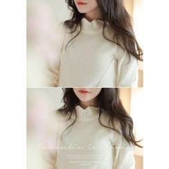 MyFiona - Scallop-Neckline Pointelle-Knit Top