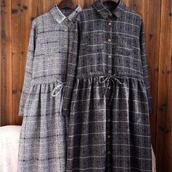 tete - 格紋翻領連衣裙