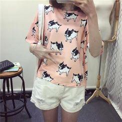 Kikiyo - Oversized Short Sleeves Print T-shirt