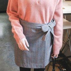 mimi&didi - Checked Surplice-Wrap Mini Skirt